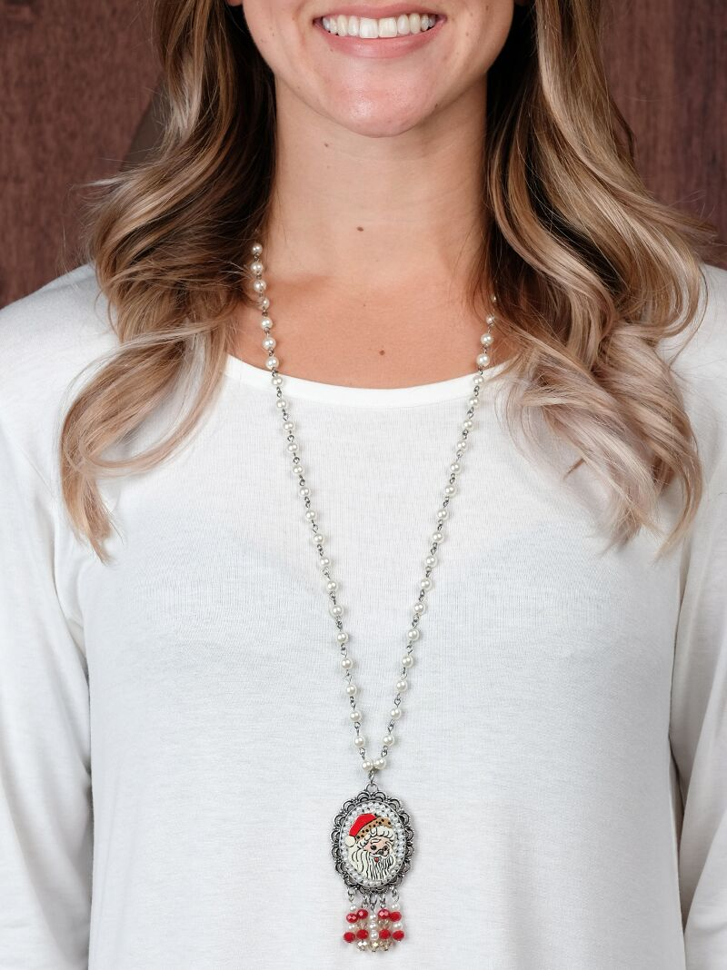 baabc769c7b38 Christmas Collection    Jewelry    The Leopard Santa Hat Pendant on Pearl  Beaded Necklace