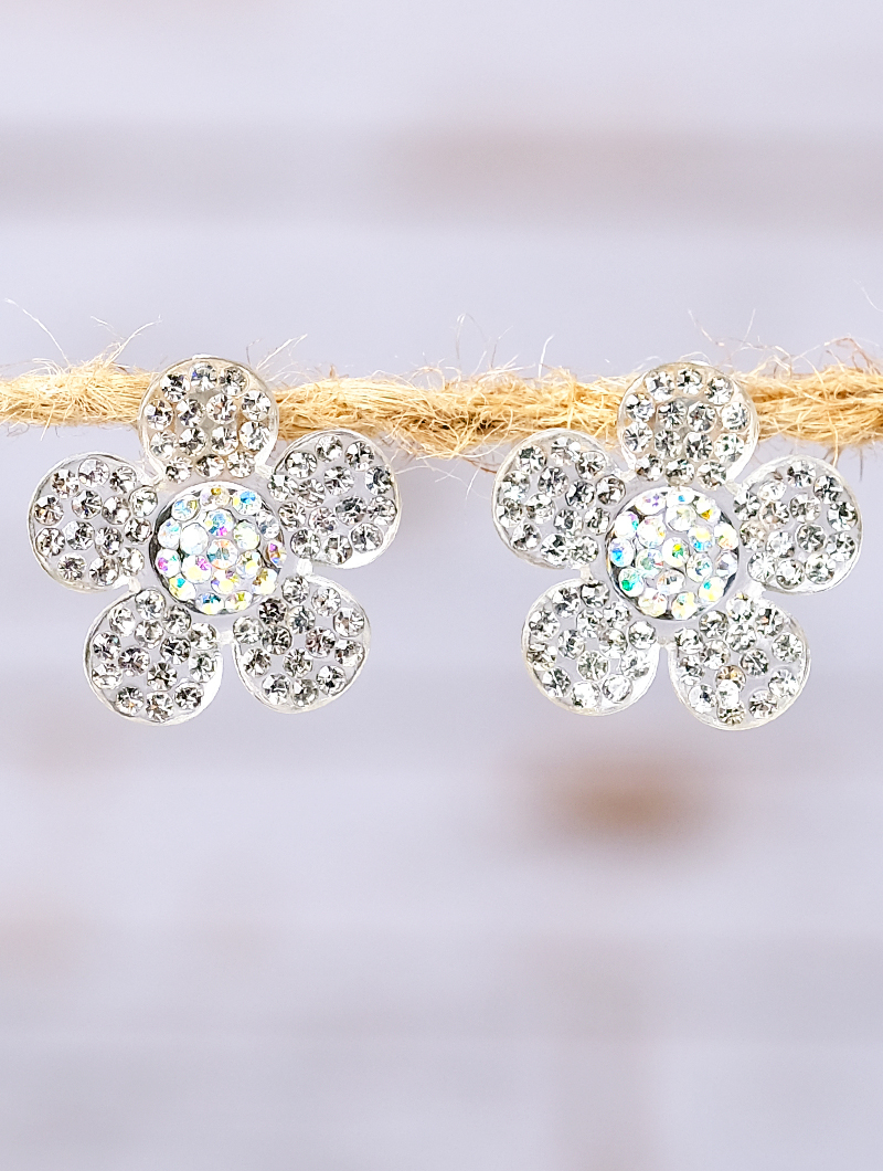 961ede460 Earrings :: Studs :: White Crystals on Clear Flower Stud Earrings