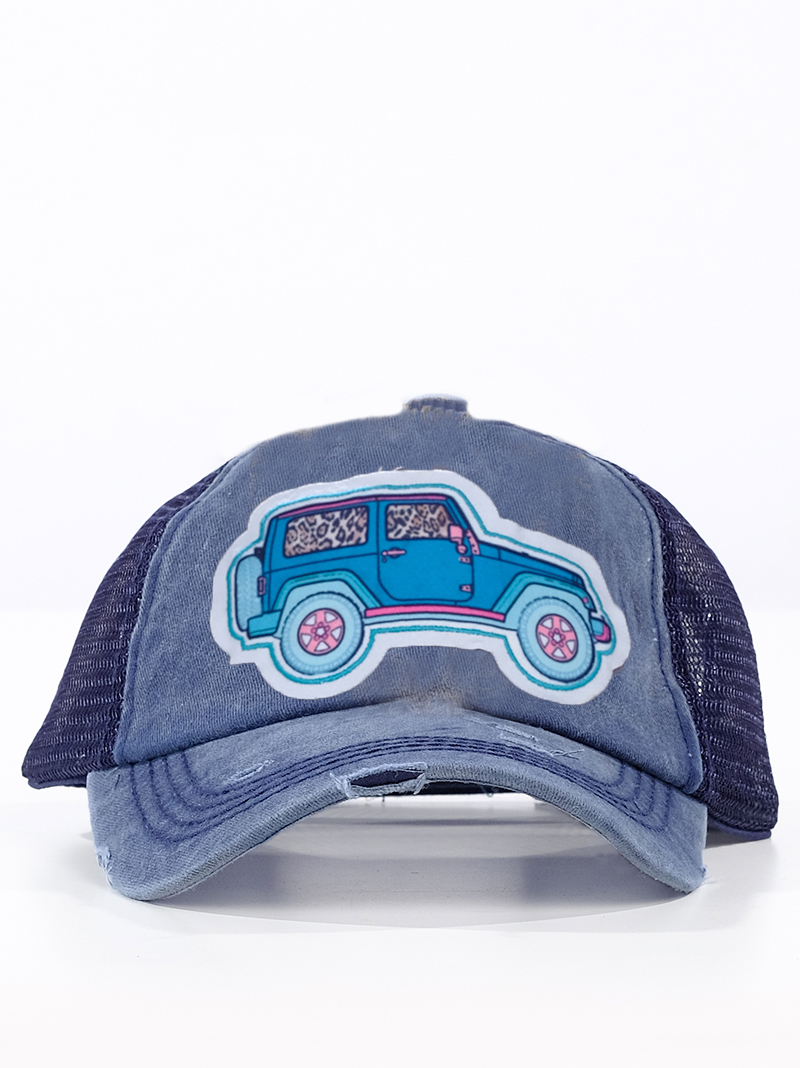 Headwear    Hats    Turquoise Jeep Patch on Distressed Navy Hat with Mesh 063dbfb36ecf