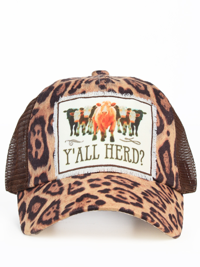 Headwear    Hats    Y all Herd Patch on Leopard Hat with Brown Mesh 40bad3d51f3c