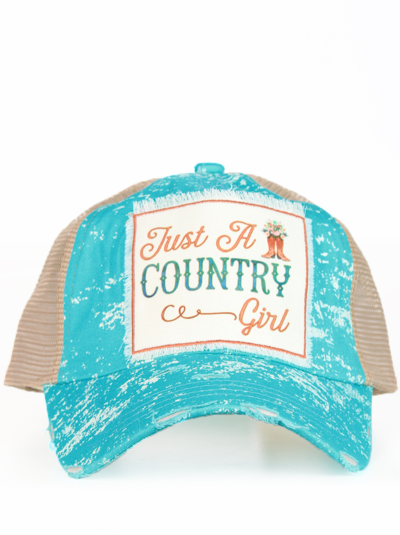 Headwear    Hats    Just a Country Girl Patch on Turquoise Spatter Hat with  Mesh ac0b135af7a6
