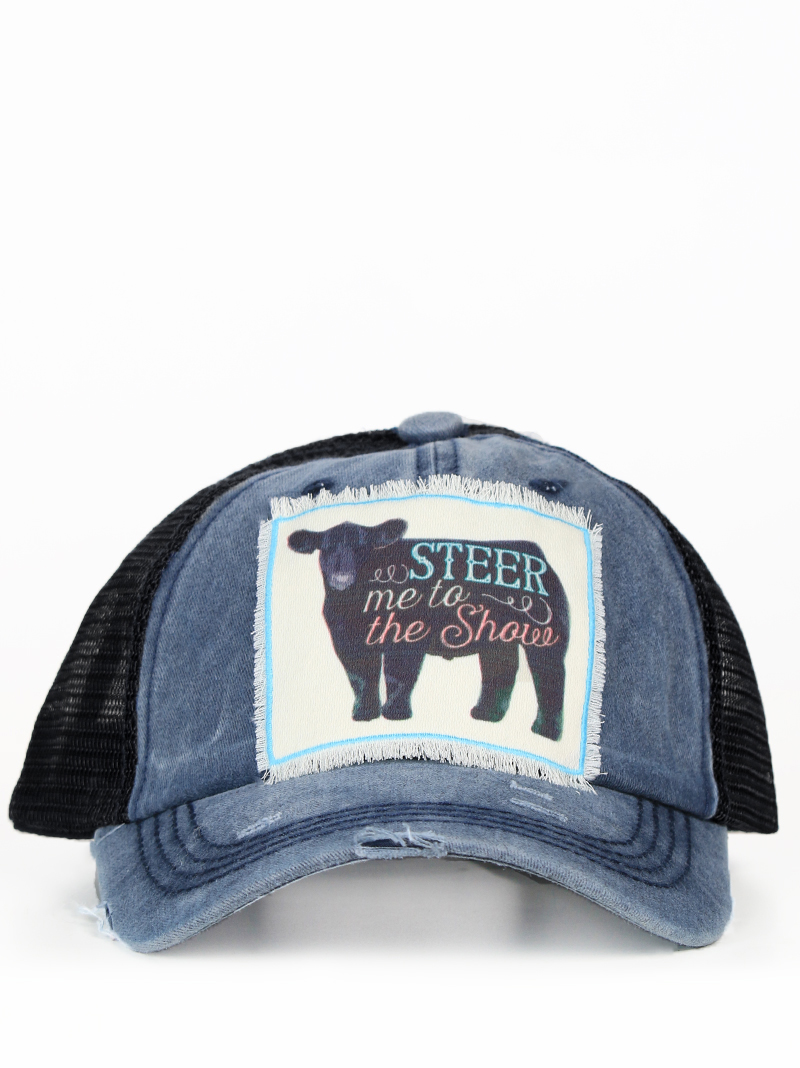 05cc5045 Hats :: Hats :: Steer Me to the Show Patch on Distressed Navy Hat with  Black Mesh