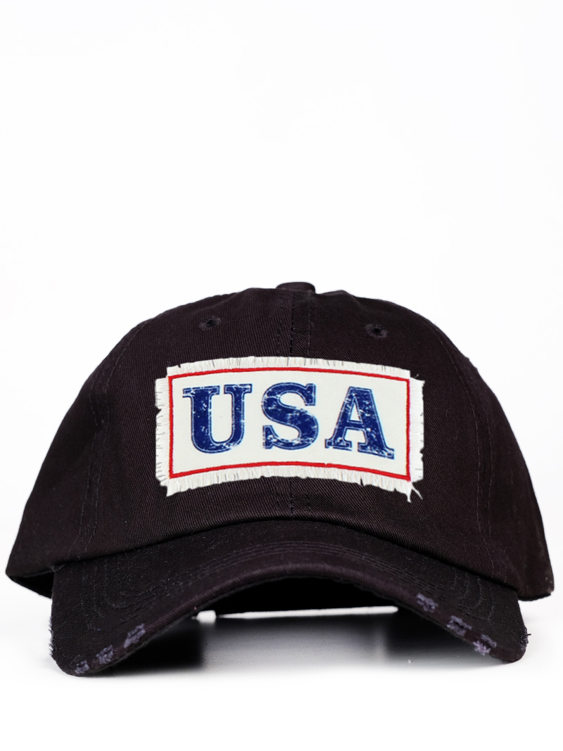Hats :: Hats :: Vintage USA Patch on Solid Black Distressed Hat