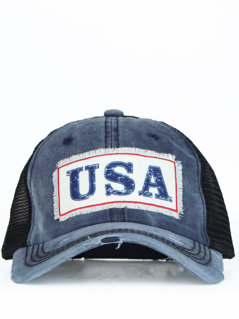 Hats :: Hats :: Vintage USA Patch on Distressed Navy Hat with Mesh